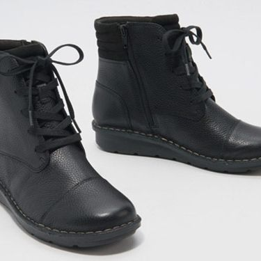 Clarks Collection Leather Lace-Up Ankle Boots