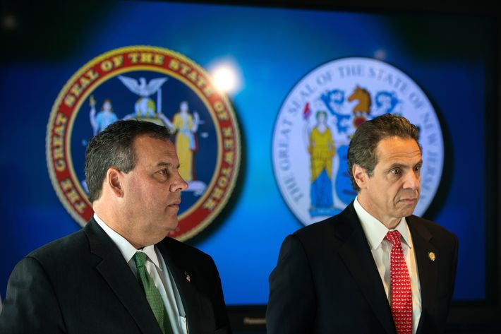 New Jersey Gov. Chris Christie (left to right) and New York Governor Andrew Cuomo prepare to announce the initial findings from their joint review of security protocols, in response to growing, global terrorism, for New Jersey and New York during a press conference on September 24, 2014 at 7 World Trade Center in New York, NY. Last week, Christie and Cuomo requested a bi-state review of current safety and security protocols in response to the increased global terrorism threat and today, ten days later, they announced their initial findings as well as signed a memorandum of understanding to increase security for New Jersey and New York.