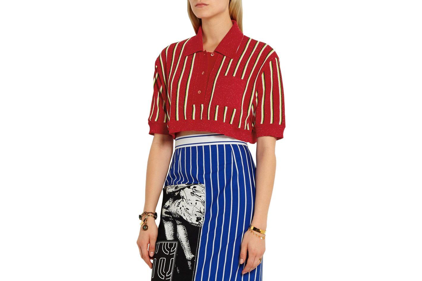 Miu Miu cropped striped metallic knitted top