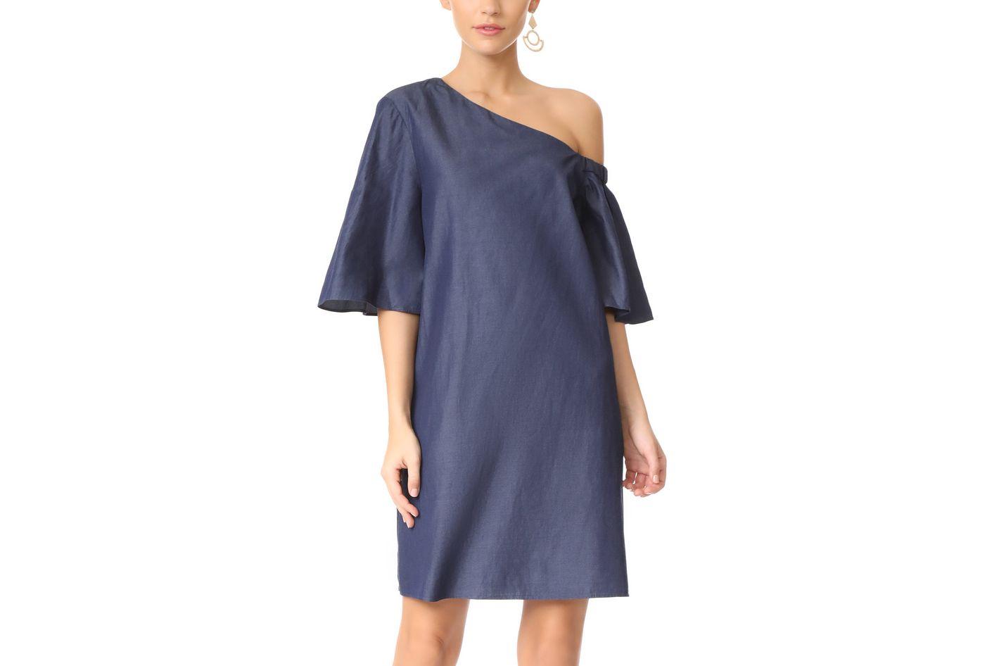 Tibi One-Shoulder Bell Sleeve Dress