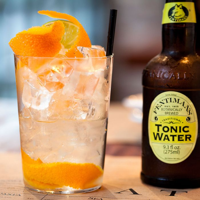 Cata specializes in Spanish gin and tonics. This one has orange peels, Spring 44 gin, and Fentimans tonic.