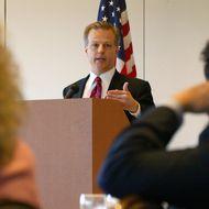 Deputy Secretary of Labor Steven J. Law speaks about President Bush's Social Security plan at a breakfast meeting hosted by the Henderson, Nev., Chamber of Commerce Thursday, March 31, 2005. (AP Photo/Las Vegas Sun, Sam Morris)