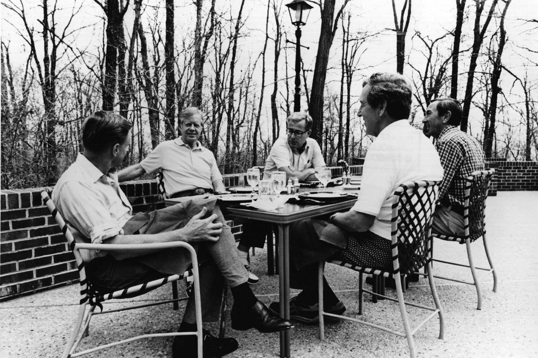 17th May 1982:  American statesman Jimmy Carter, the 39th President of the United States, (second from left) at Camp David, Maryland, with members of his cabinet.  From left: Zbigniew Brzezinski, national security adviser; President Carter; defence secretary Harold Brown; acting secretary of state Warren Christopher; and secretary of state designate Edmund Muskie.  (Photo by Keystone/CNP/Getty Images)