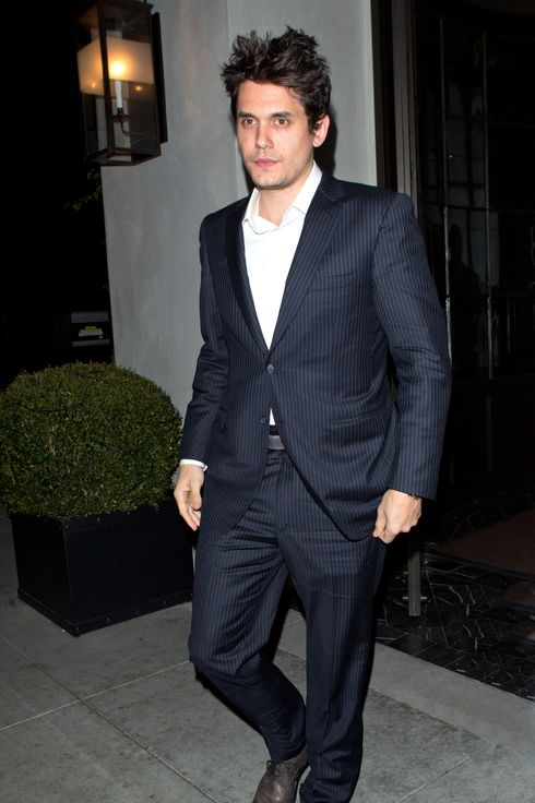 Singer John Mayer dressed in a suit was seen leaving Spargo Restaurant in Beverly Hills, CA. John's reported girlfriend, Katy Perry wasn't anywhere to be seen tonight as John enjoyed a dinner with two friends.