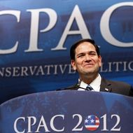 "Sen. Marco Rubio (R-FL) delivers a speech titled, ""Is America Still an Exceptional Nation?"" during the annual Conservative Political Action Conference (CPAC) February 9, 2012 in Washington, DC."