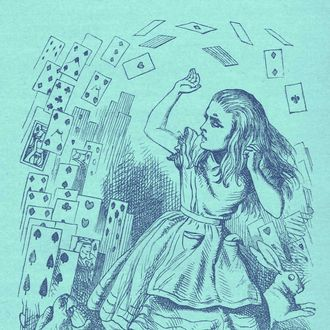 Alice - returning from Wonderland, surrounded by cards and animals, 'You are just a pack of cards