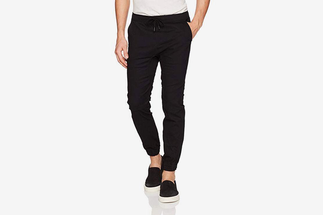 46fbf46d289a33 Brooklyn Athletics Men's Twill Jogger Pants Soft Stretch Slim-Fit Trousers  at Amazon