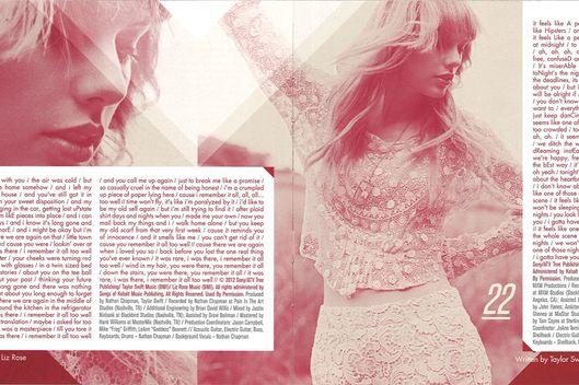 Taylor swift lyrics new album red