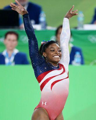 Simone Biles, triumphant.