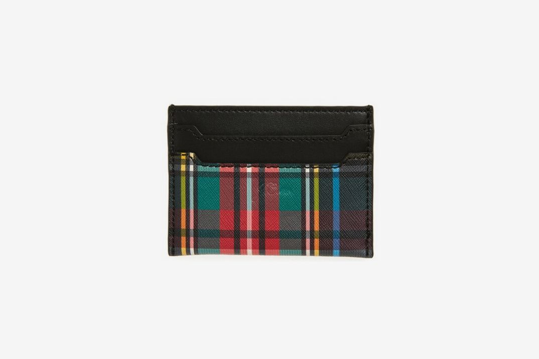 J. Crew Plaid Leather Slip Card Case