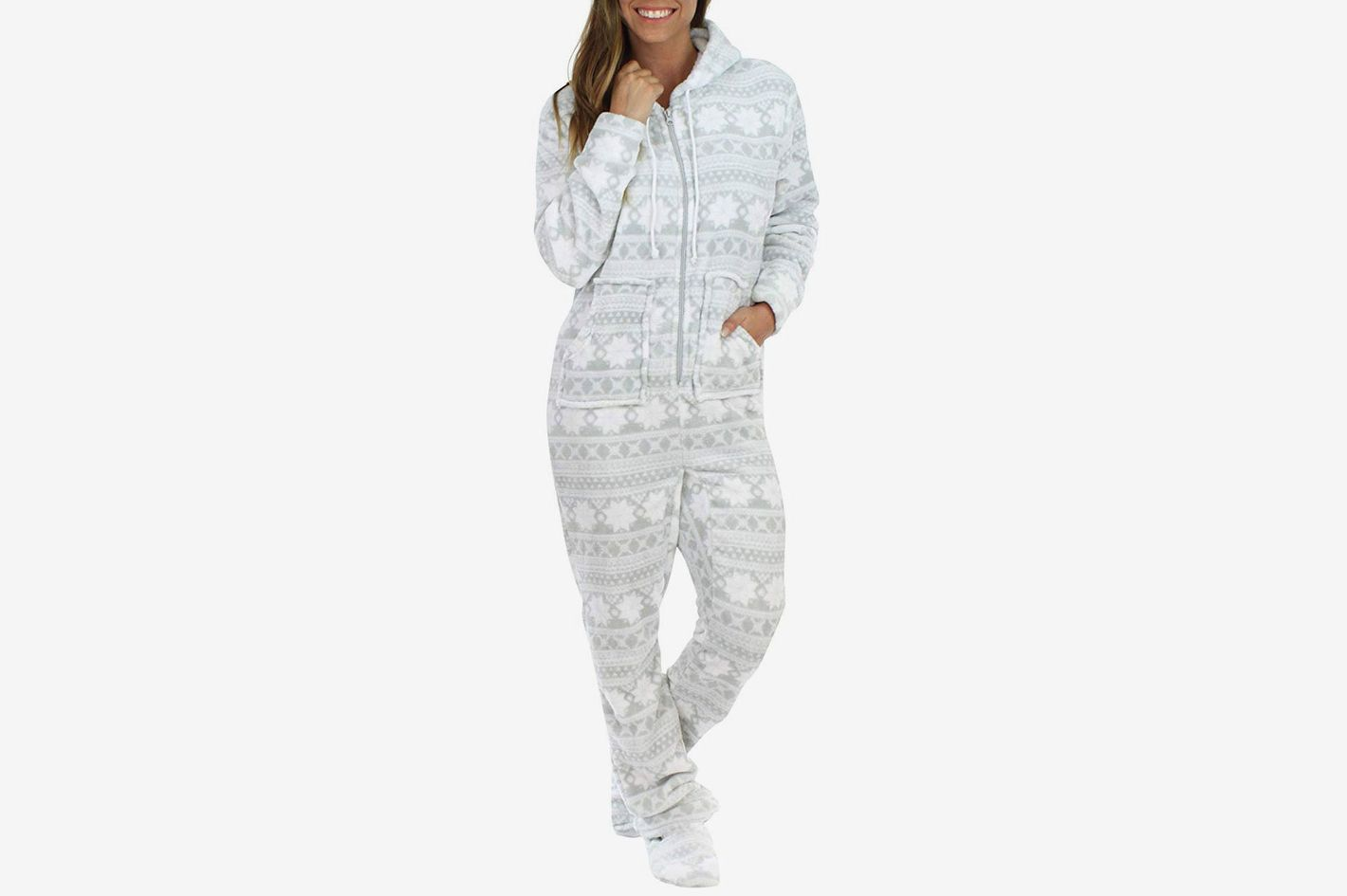 4733ef3d292e SleepytimePjs Women s Sleepwear Fleece Hooded Footed Onesie Pajamas