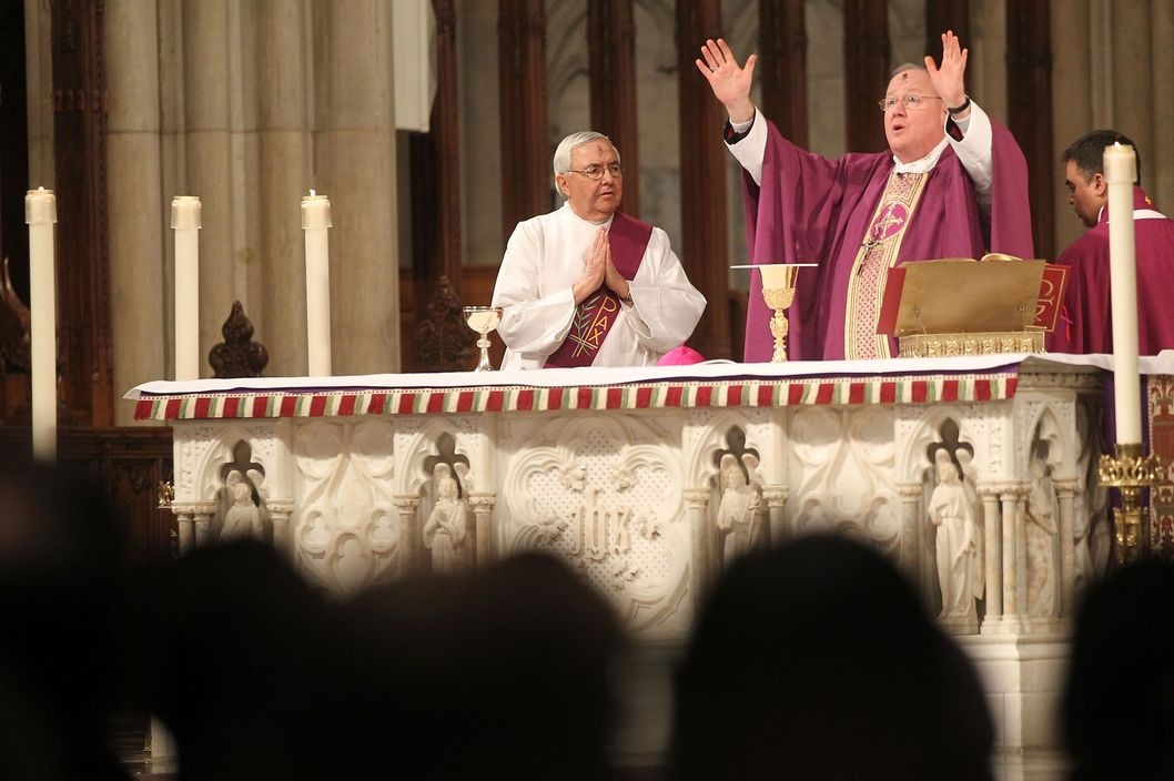 Cardinal Timothy Dolan leads mass at Saint Patrick's Cathedral.