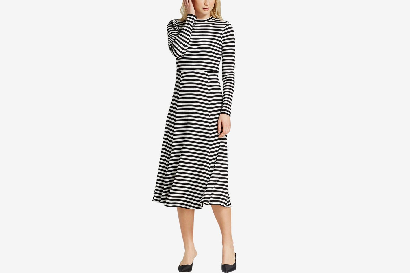 Women's Long Sleeve Rib Midi Dress