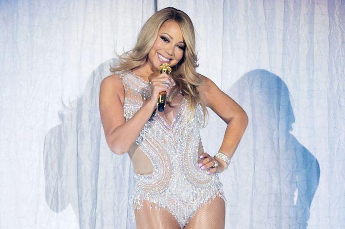 Mariah Carey performing in Paris last week.