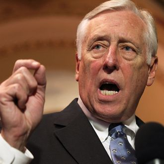 U.S. House Minority Whip Rep. Steny Hoyer (D-MD) speaks to the media December 21, 2011 on Capitol Hill in Washington, DC. The House Democratic leaders responded to the accusations from the House Republicans of not forming a panel to negotiate the payroll tax cut extension bill, after the House rejected the version approved by the Senate.