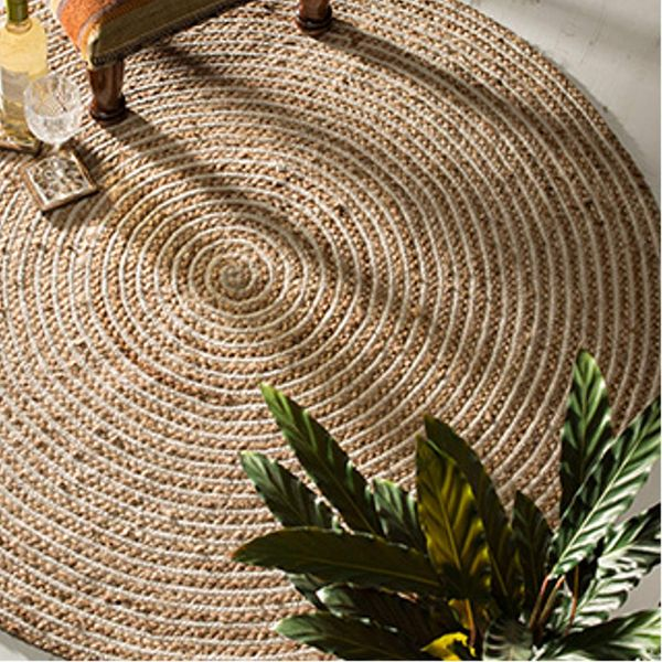 Indian Arts Fair Trade Round Jute & Cotton 100% Braided Rug (90cm Diameter)
