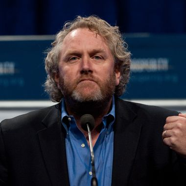 "Andrew Breitbart, editor and founder of BigGovernment.com political website, speaks at a ""Cut Spending Now"" rally at the conservative Americans for Prosperity (AFP) ""Defending the American Dream Summit"" in Washington on November 5, 2011."