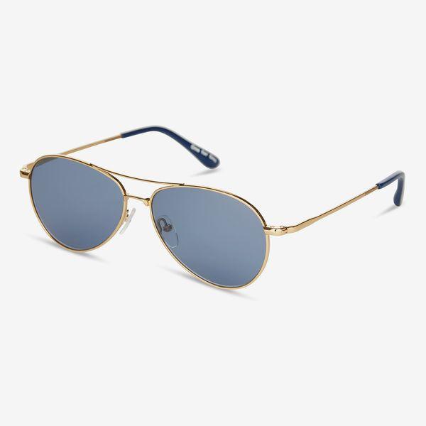 Toms Kilgore 201 Shiny Gold Zeiss Original Blue Lens Sunglasses