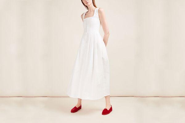 Gioia Bini White Midi Linen Dress