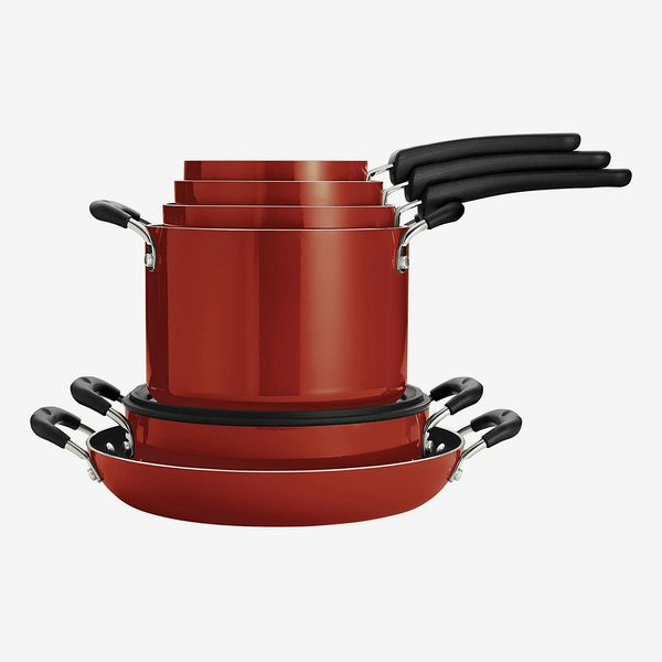Tramontina Nesting 11 Pc Nonstick Cookware Set, Red