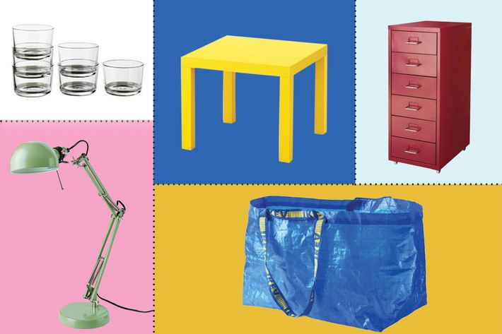 collage of ikea frakta shopping bag, lack side table, classic work lamp, helmer drawer unit on casters, and 365+ glass - strategist best home decor and best ikea stuff on amazon