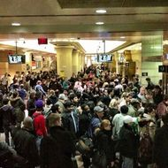 The crowd in Penn Station, via <a href=