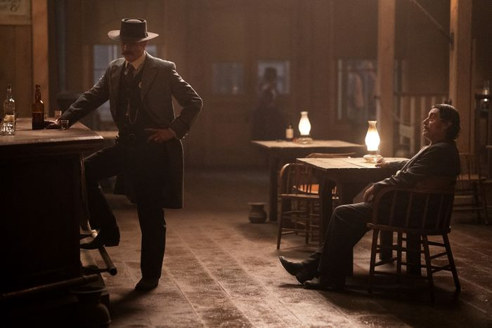 Timothy Olyphant and Ian McShane in Deadwood: The Movie.