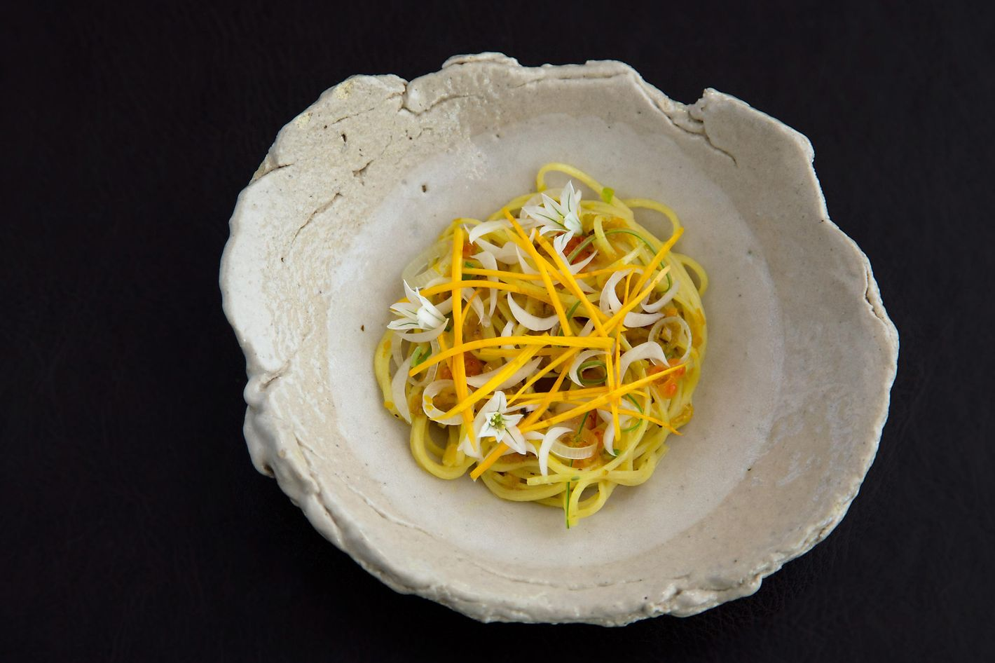 Meadowood's chilled noodle daylily prawn.