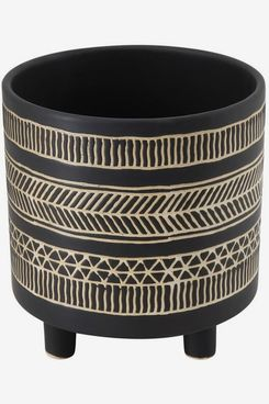 Peace & Riot Stoneware Flower Pot with Black Pattern