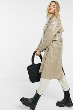 Rains Holographic Waterproof Overcoat in Beige