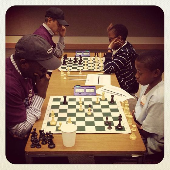 "<a href=""http://instagram.com/p/L5jajHChLM""></a>  Goldman visitor @lesliekhall caught a tender moment. (<i>""Our 4th grade scholars beating Goldman Sachs employees at chess! #winning ... literally.""</i>)"