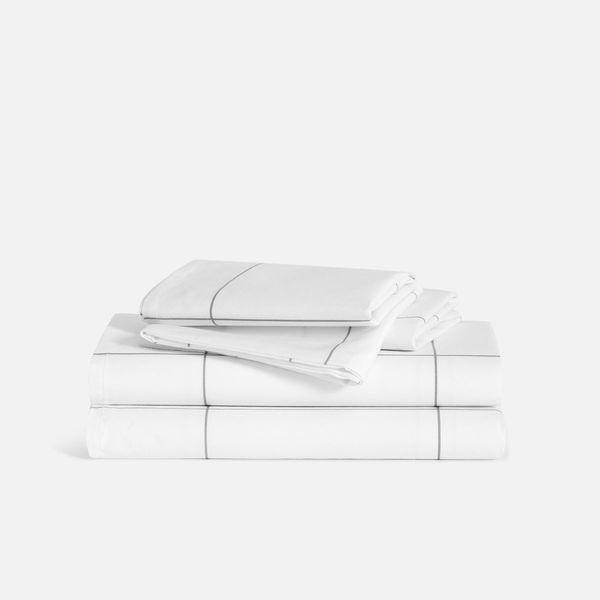 brooklinen luxe core sheet set checked