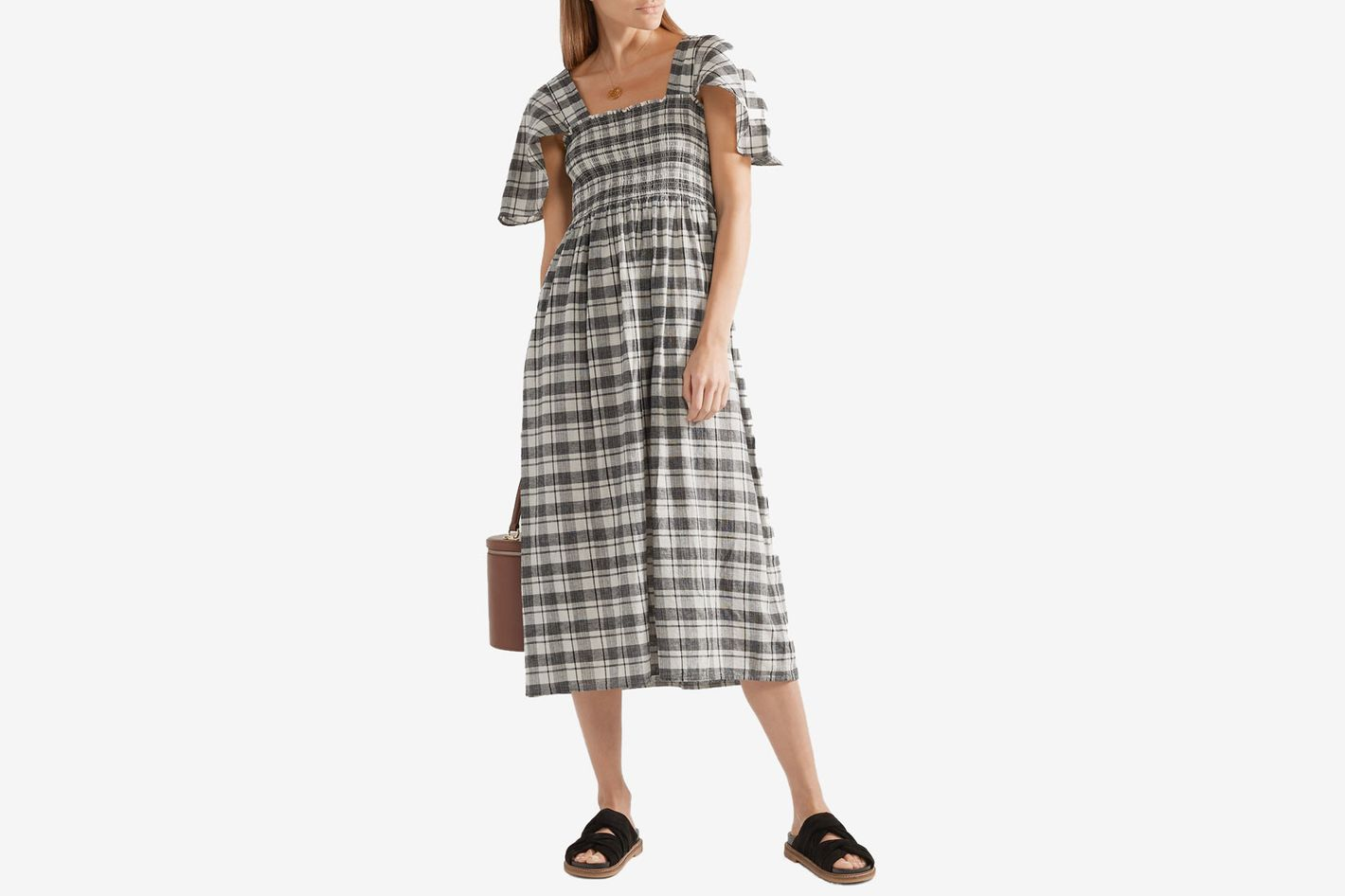 The Great The Gimlet checked cotton and linen-blend midi dress