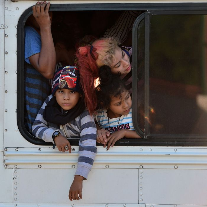 Children in a migrant caravan leaving Honduras, January 2020.