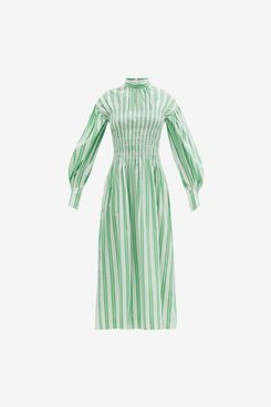 Ganni Smocked-bodice striped cotton-poplin midi dress