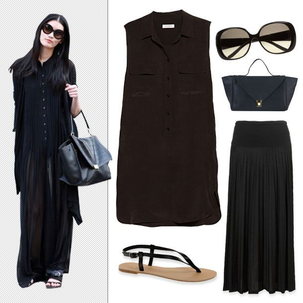 065438097eb Ming Xi  Get a jump on fall s layering trend by slipping a sleeveless dress  over a maxi-skirt.
