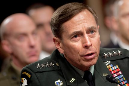 US Gen. David Petraeus, commander of the International Security Assistance Force and commander of US Forces Afghanistan, testifies during a hearing before the Senate Armed Services Committee March 15, 2011 on Capitol Hill in Washington, DC. Petraeus is in Washington to give his assessment of military progress that would allow the US to begin withdrawing troops from Afghanistan. AFP PHOTO/Brendan SMIALOWSKI (Photo credit should read BRENDAN SMIALOWSKI/AFP/Getty Images)