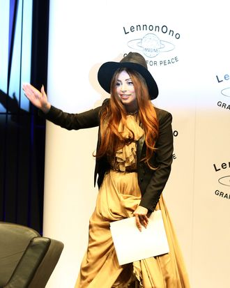 Gaga in Saint Laurent by Hedi Slimane, round two.