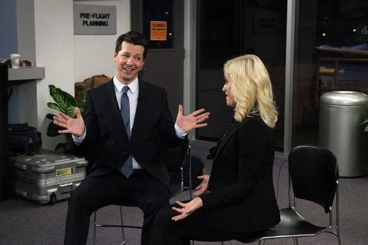 "PARKS AND RECREATION -- ""Lucky"" Episode 418 -- Pictured: (l-r) Sean Hayes as Buddy Wood, Amy Poehler as Leslie Knope."