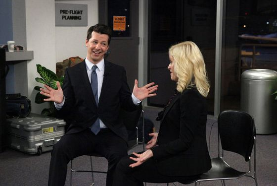 "PARKS AND RECREATION -- ""Lucky"" Episode 418 -- Pictured: (l-r) Sean Hayes as Buddy Wood, Amy Poehler as Leslie Knope -- (Photo by: Dean Hendler/NBC)"