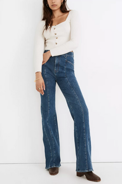 Madewell 11-Inch High-Rise Flare Jeans in Marcy Wash: Seamed Edition