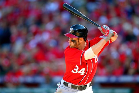 Bryce Harper #34 of the Washington Nationals at bat in the first inning against the St. Louis Cardinals during Game Two of the National League Division Series at Busch Stadium on October 8, 2012 in St Louis, Missouri.