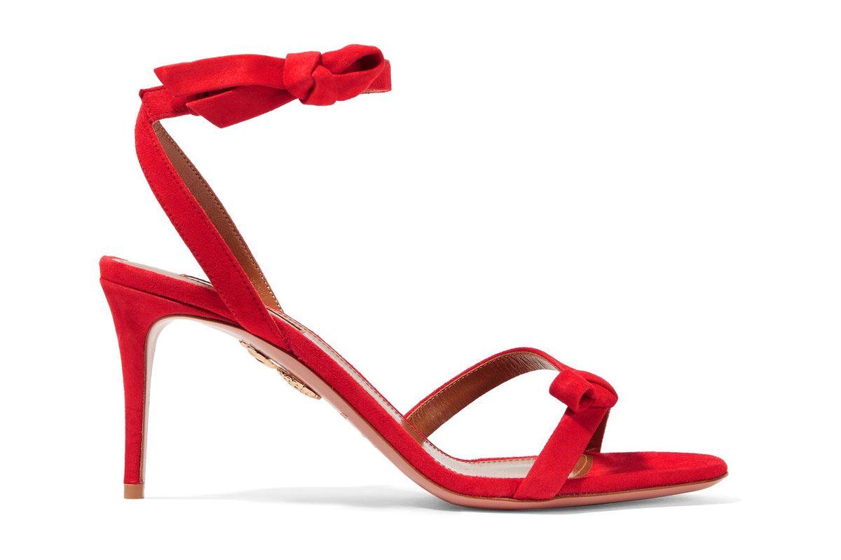 Aquazzura Passion bow-embellished suede sandals