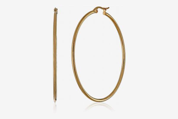 Amazon Essentials Plated Stainless Steel Hoop Earrings