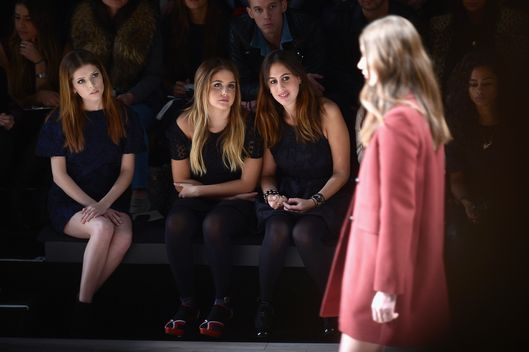NEW YORK, NY - FEBRUARY 08:  Actress Anna Kendrick (L) attends the Jill Stuart fashion show during Mercedes-Benz Fashion Week Fall 2014 at The Salon at Lincoln Center on February 8, 2014 in New York City.  (Photo by Michael Loccisano/Getty Images for Mercedes-Benz Fashion Week)