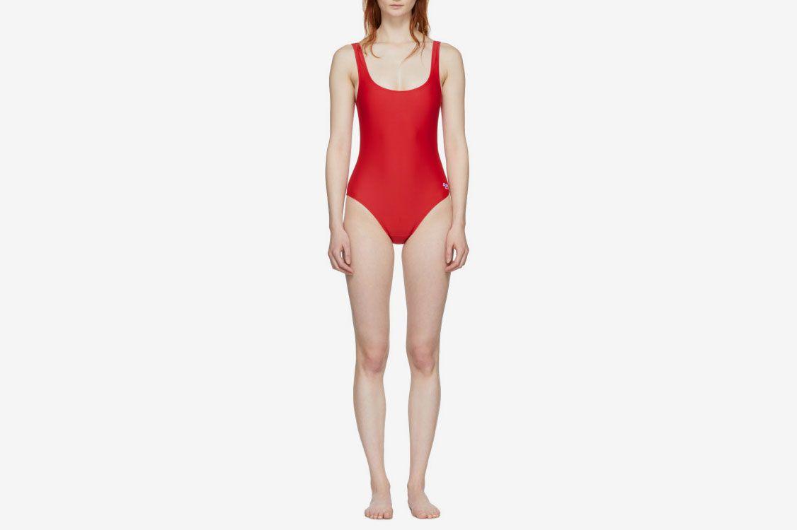 Maison Kitsune Red Swimsuit