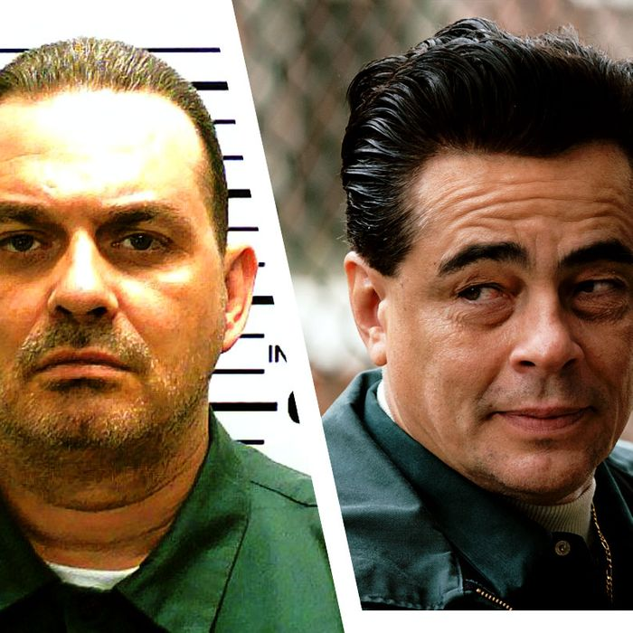 A split image of the real Richard Matt and Escape at Dannemora actor Benicio Del Toro