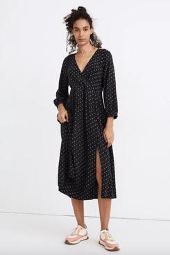 Madewell Faux-Wrap Midi Dress in Polka Dot