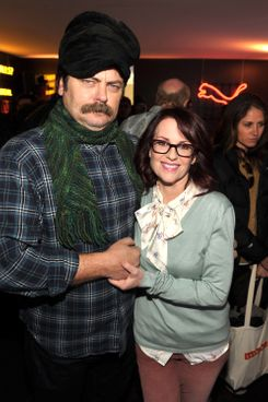 (L-R) Actor Nick Offerman and actress Megan Mullally attend Day 3 of the Puma Social Lounge at T-Mobile Google Music Village at The Lift on January 22, 2012 in Park City, Utah.
