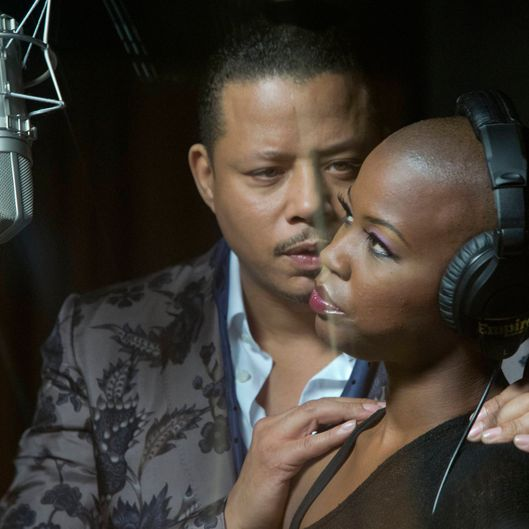 EMPIRE: Lucious Lyon (Terrence Howard, L) encourages one of his musical acts NAME (guest star NAME, R)  in the premiere episode of EMPIRE airing Wednesday, Jan. 7 (9:00-10:00 PM ET/PT) on FOX. ?2014 Fox Broadcasting Co. CR: Chuck Hodes/FOX